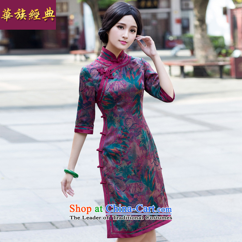 Chinese New Year 2015 classic-long-sleeved silk incense cloud yarn cheongsam dress autumn) Improved stylish Sau San abounds winter XXL