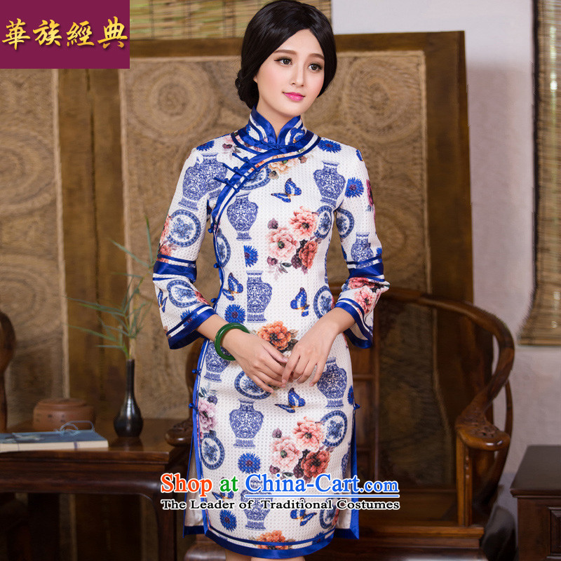 China Ethnic classic autumn new improved Stylish retro, Republic of Korea Chinese qipao wind long-sleeved dresses daily Sau San suit�XXL