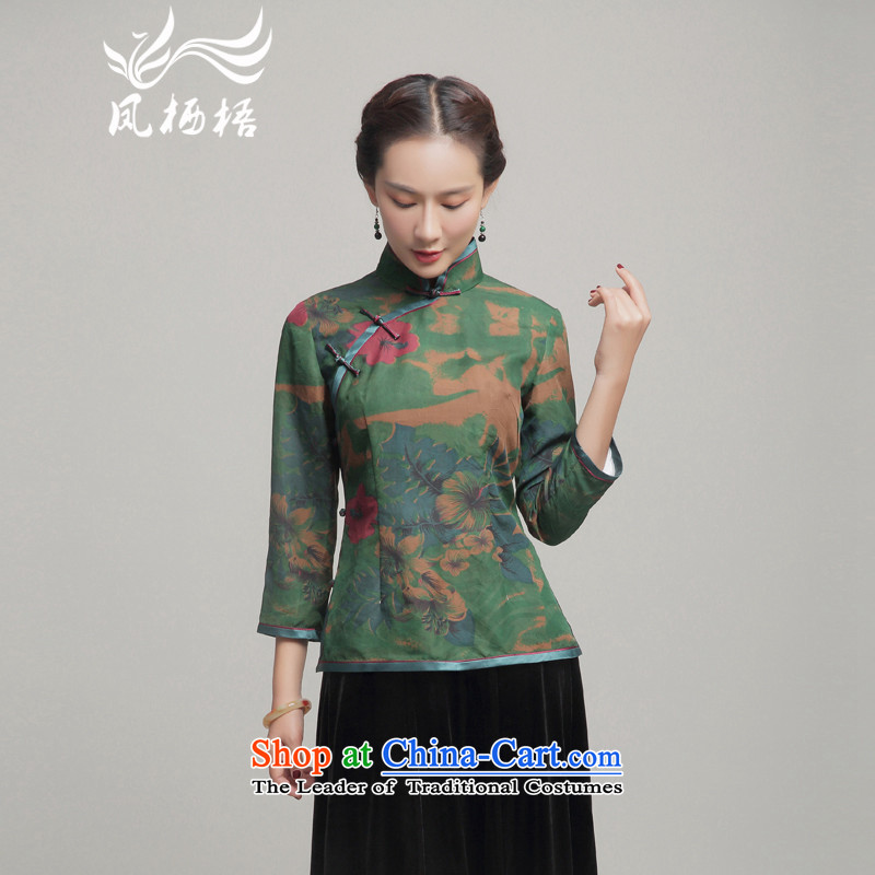 Load the autumn Fung migratory 7475 new cloud of incense yarn qipao herbs extract Stylish retro shirt long-sleeved T-shirt DQ15225 Chinese Green燬