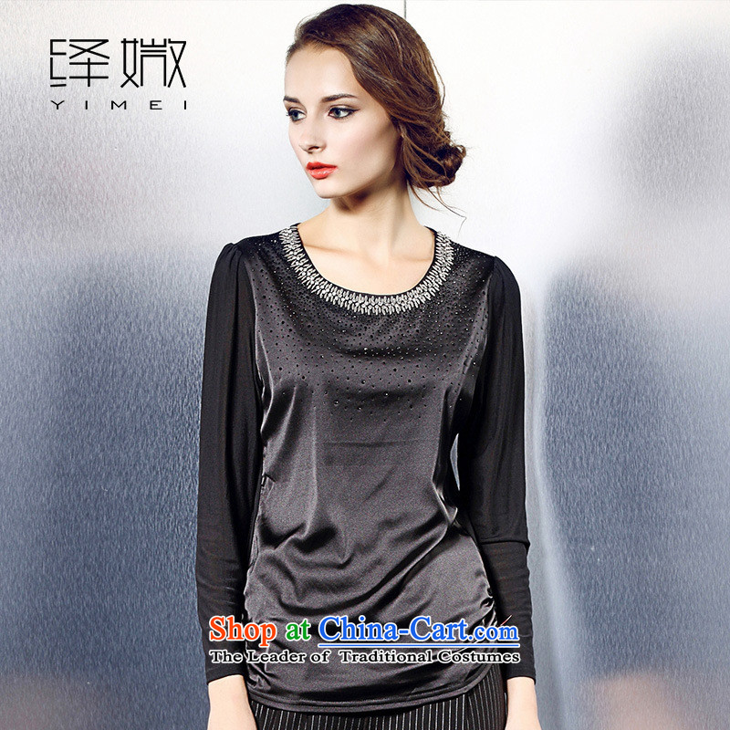 The European station 2015 Autumn Hami blouses girl who decorated round-neck collar long-sleeved shirt, forming the pearl of the nails?black T-shirt?XXL