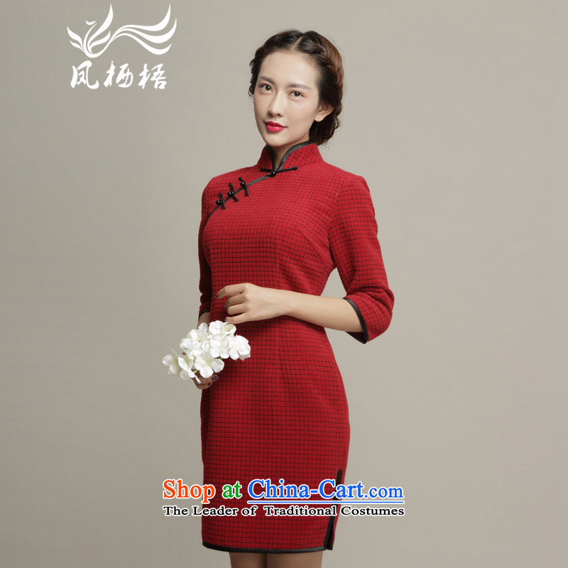 Bong-dwelling for autumn and winter 7475 gross qipao? The?New 2015 gross in long-sleeved retro grid? cheongsam dress DQ15236 RED?XL