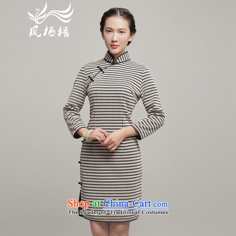 Bong-migratory Fall/Winter Collections qipao 7475�2015 new long-sleeved Stylish retro qipao thick dresses DQ15238 Black�XL