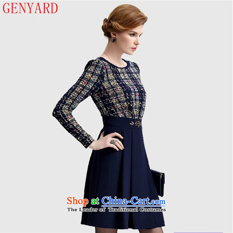 New products fall GENYARD2015 middle-aged moms who are in long round-neck collar long-sleeved blue skirt blue?XXXL XX