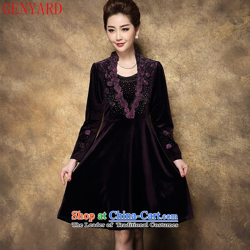 Genyard2015 autumn and winter in the new elderly mother decorated long-sleeved embroidery diamond velvet purple red velour cuff?M