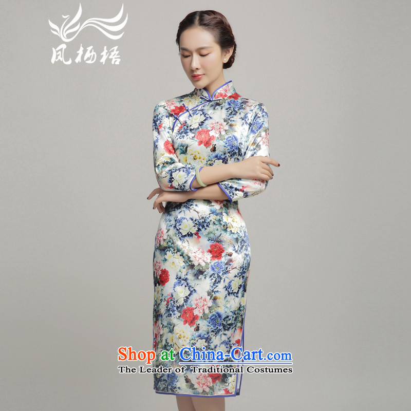7475 Autumn migratory Bong-new upscale Silk Cheongsam, long-sleeved herbs extract qipao gown skirt DQ15240 banquet suit燲L