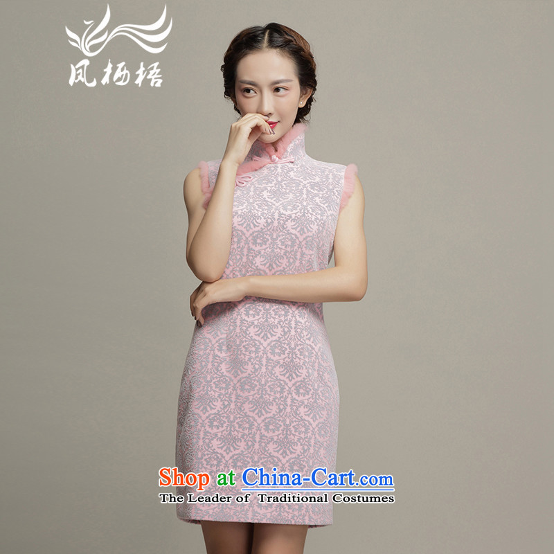 Bong-migratory cheongsam dress 2015 7475 winter clothing stylish sleeveless cheongsam dress thick) rabbit hair qipao DQ15243 pink?S