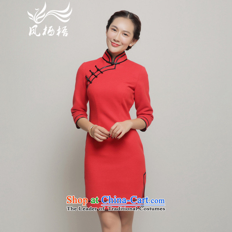 The new 7475 migratory Fung gross qipao?2015 Autumn load? Stylish retro banquet dress cheongsam long-sleeved DQ15246 RED?XXL