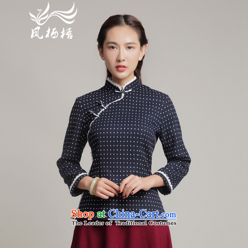 Bong-long-sleeved shirt qipao migratory 7475 2015 new stylish retro fitted autumn China storm point Tang blouses DQ15245 DARK BLUE燣