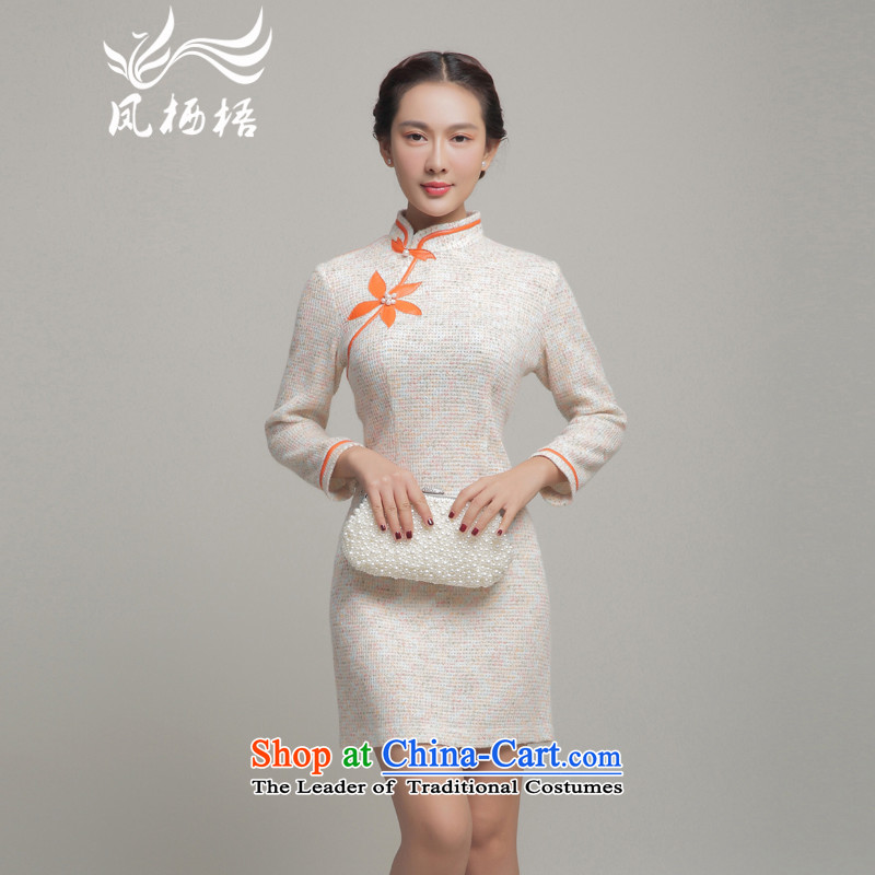 Bong-migratory autumn and winter 7475 New Stylish retro qipao Drop-Needle LS Sau San cheongsam dress DQ15247 rice White?XXL