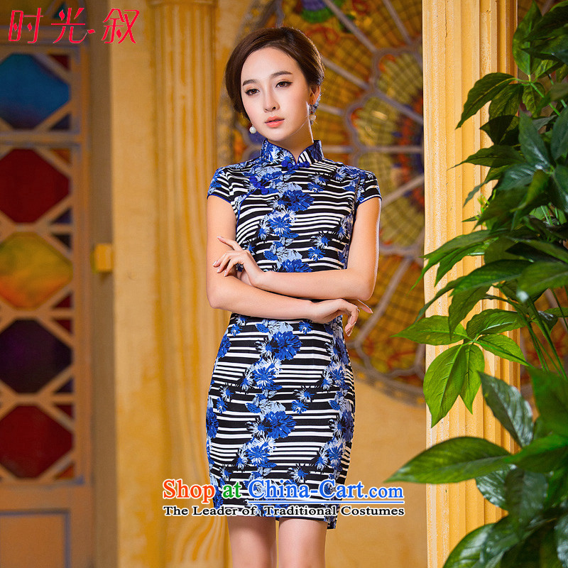 The Syrian Arab Republic�15燿aily qipao time retro improved stripe short of arrest of qipao dresses cheongsam dress blue燲L