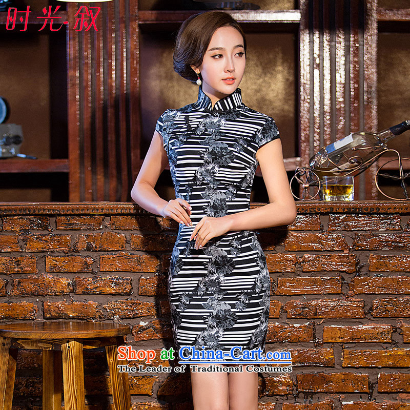 Time stylish streaks cheongsam dress Syrian?autumn 2015 new improved elegant qipao short of arts Tang dynasty qipao Black?XL