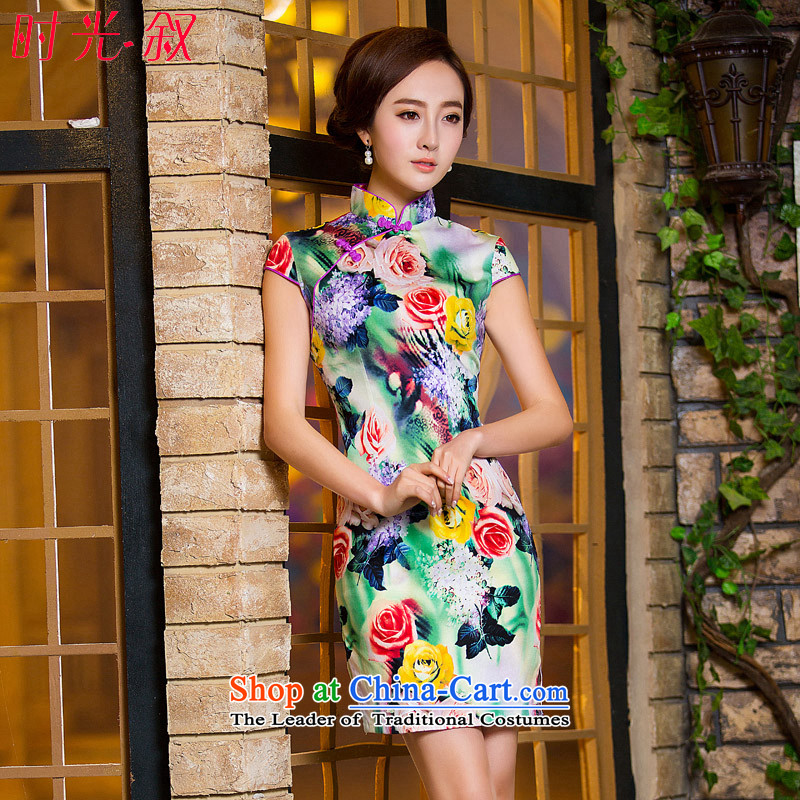 Time-to-day retro female qipao Syrian skirt 2015 new oil paintings and stylish improved Tang dynasty qipao short skirt picture color?S