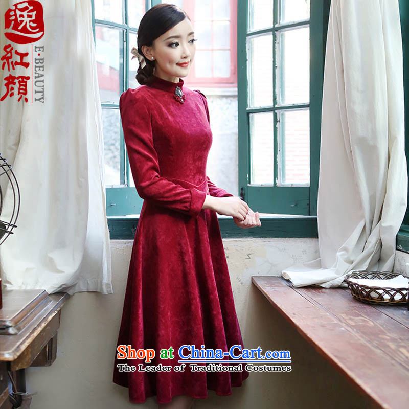 A Pinwheel Without Wind-Ning Yuen Autumn Yat new products in long long-sleeved dresses, at the beginning of the Winter Sau San velvet A skirt rouge color?L