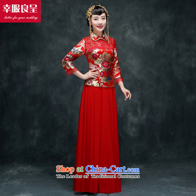 Sau Wo Service marriages 2015 CHINESE CHEONGSAM new wedding dresses red long bows of autumn and winter clothing 7 Cuff�L