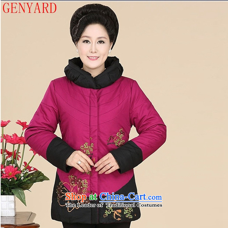 In the new winter GENYARD elderly ladies printed ?t��a stylish stamp mount short of mother coat robe increase XXXL