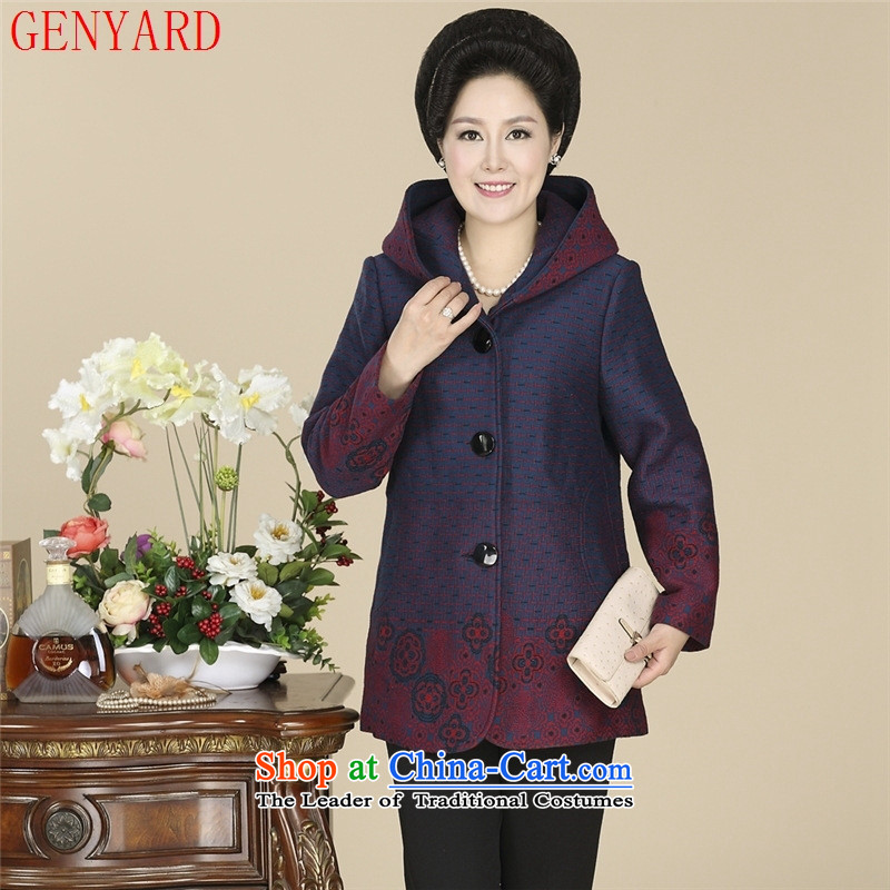 New Leisure autumn GENYARD2014 mother jackets and stylish with cap in the stamp of older women's jacket flower-type 3 increase XXXL