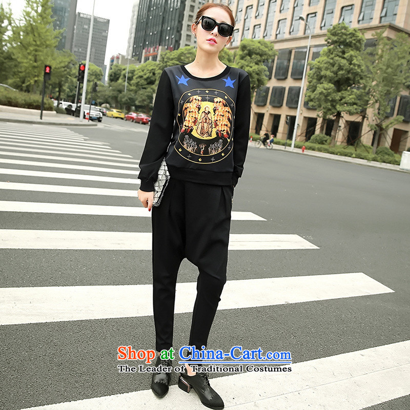 The Black Butterfly 2015 autumn and winter Korean female New Low round-neck collar long-sleeved T-shirt, forming the stamp sweater black L