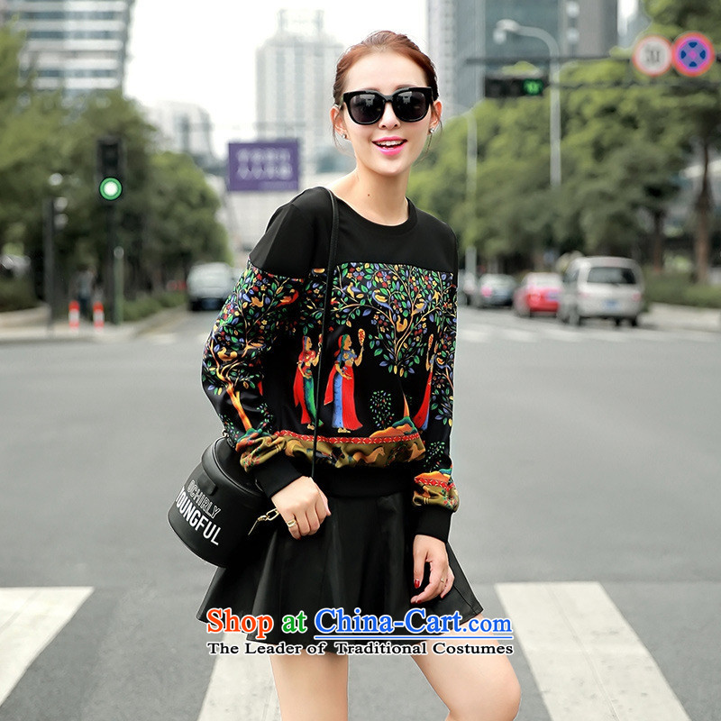 The Black Butterfly 2015 Autumn new Korean female) round-neck collar long-sleeved T-shirt stamp sweater black?L