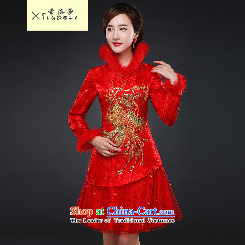 Hillo XILUOSHA Lisa _bride QIPAO_ 2015 New Fall Classics long-sleeved wedding dresses, skirts married winter clip cotton short, 2015 Red燲XL