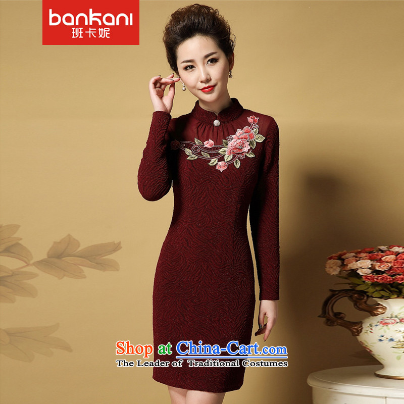 The Taliban Carne middle-aged women 2015 Autumn temperament with new moms with large dresses qipao skirt red燲XXL Sau San