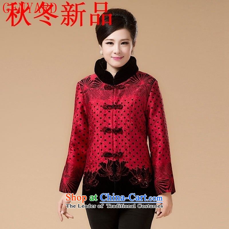 In the number of older women's GENYARD Tang dynasty cotton swab to replace the Autumn and Winter Sweater mother coat robe grandma load increase to red聽3XL