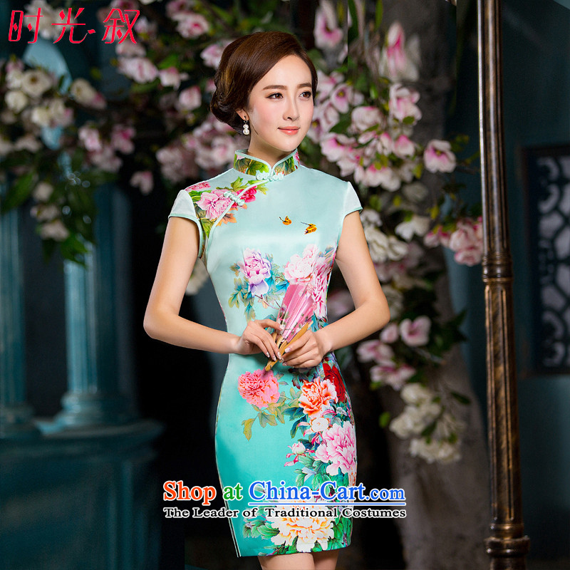 Time Syrian new autumn 2015 cheongsam with stylish retro paintings improved Mudan short of Sau San cheongsam dress cheongsam picture color燤