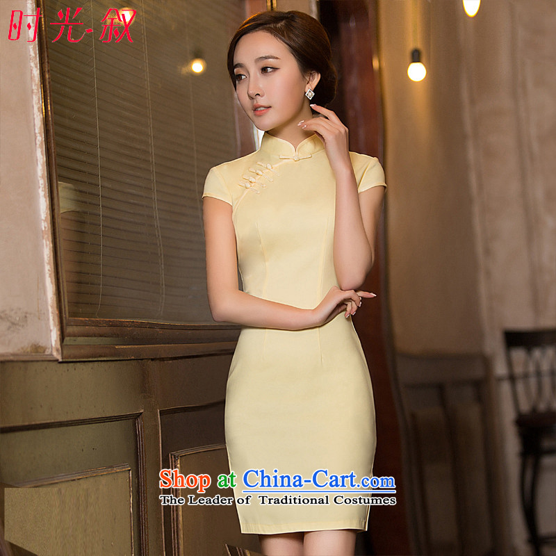 Time Syrian new autumn 2015 cheongsam with improved short, Sepia ethnic women large qipao Sau San dresses banquet annual pale yellow dress XXL
