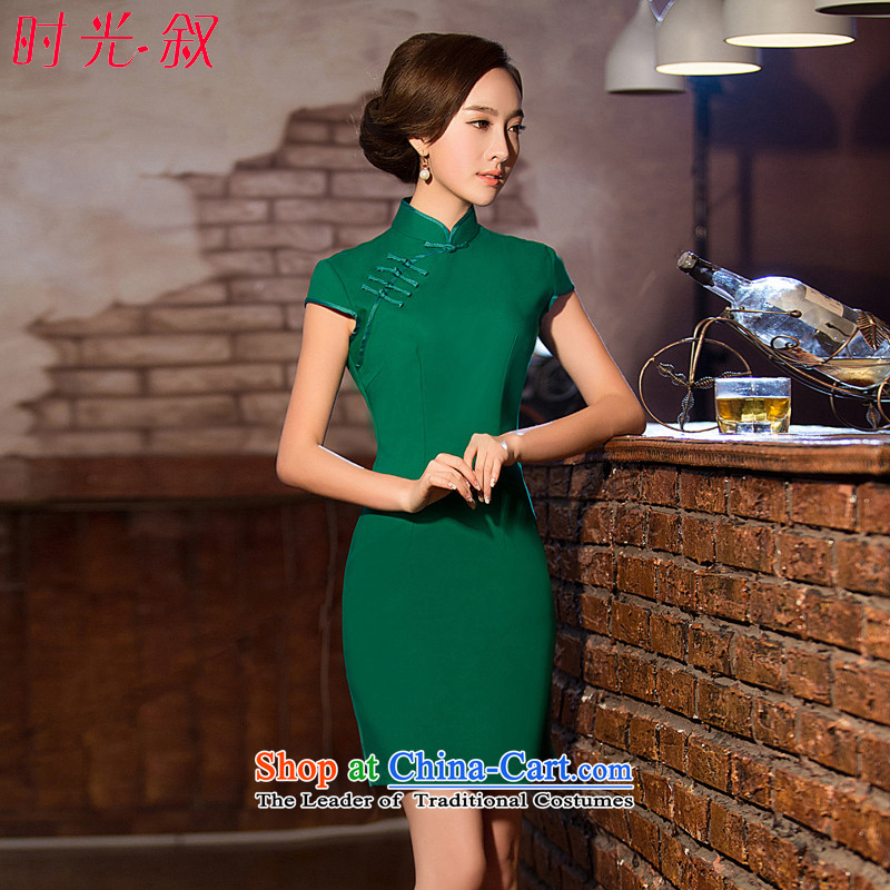 Time Syrian new autumn 2015 cheongsam with improved short, Retro ethnic green female large qipao Sau San dresses annual banquet dress green燤