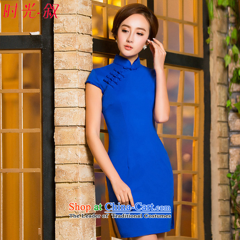 Time Syrian new autumn 2015 cheongsam with improved short, Sepia ethnic blue qipao female large Sau San code dresses annual banquet dress blue燲XL