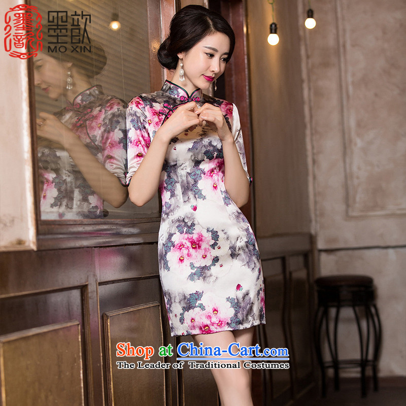 The incense heavy floral displays ? Silk Cheongsam fall inside the new retro style, Ms. cuff cheongsam dress cheongsam dress燞Y675A improved Sau San爌icture color燲L