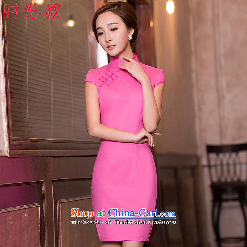 Time Syrian new autumn 2015 cheongsam with improved short, Retro ethnic Peach Girl large qipao Sau San dresses banquet annual Peach red dress燬
