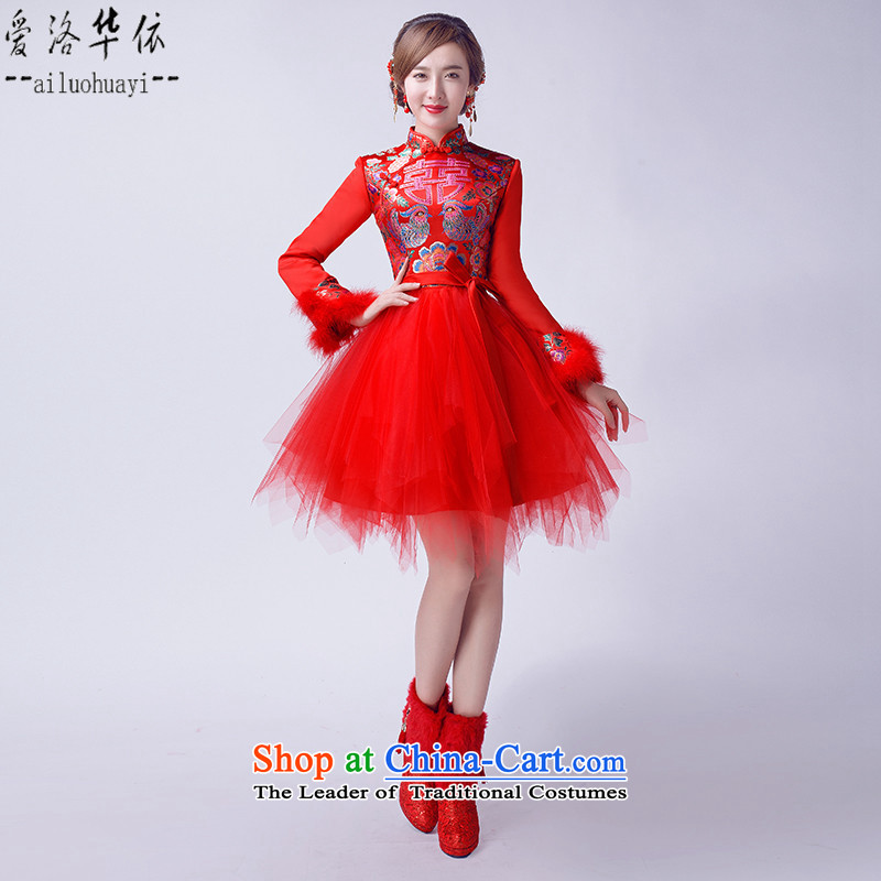 However Service 2015 bride wedding dress chinese red retro improved cheongsam dress bon bon new winter, long-sleeved plus cotton short of warm evening dresses red cotton plus�M