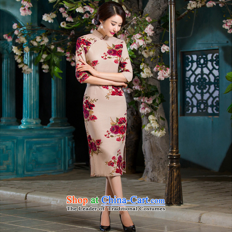 Oh, 2015 New fall blog for women of nostalgia for the video in the thin qipao Sau San large cuff improved linen long skirt qipao garden聽XXL