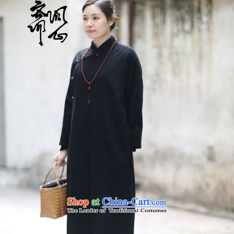 Q Shinsaibashi represented as soon as possible what electoral female winter new Chinese literati zen qipao gown, temperament 2677 Black?S 7 day shipping