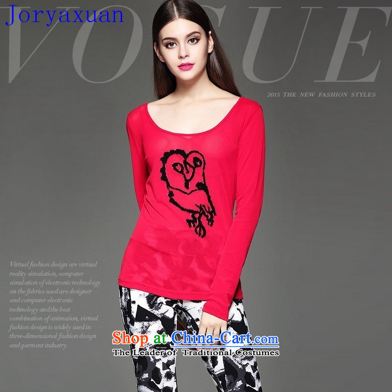Deloitte Touche Tohmatsu trade shop European site autumn and winter female new stylish heavy industry stereo animals stamp Sau San video thin wild red T-shirt燤