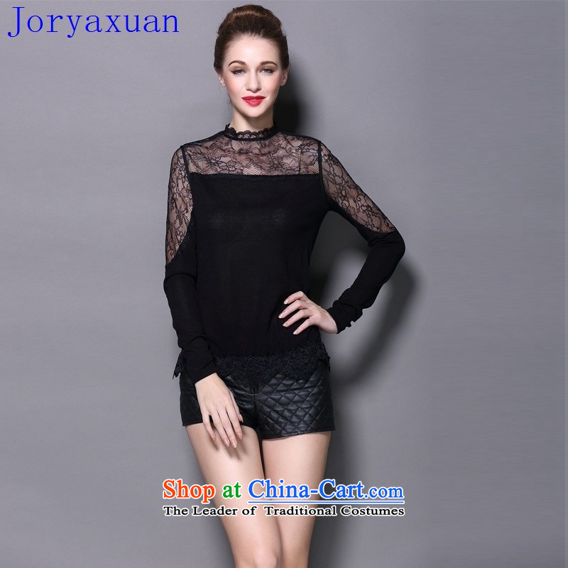 Deloitte Touche Tohmatsu sunny autumn 2015 shops female western heap heap collar lace temperament, forming the Netherlands female Sweater Knit-Black?XL