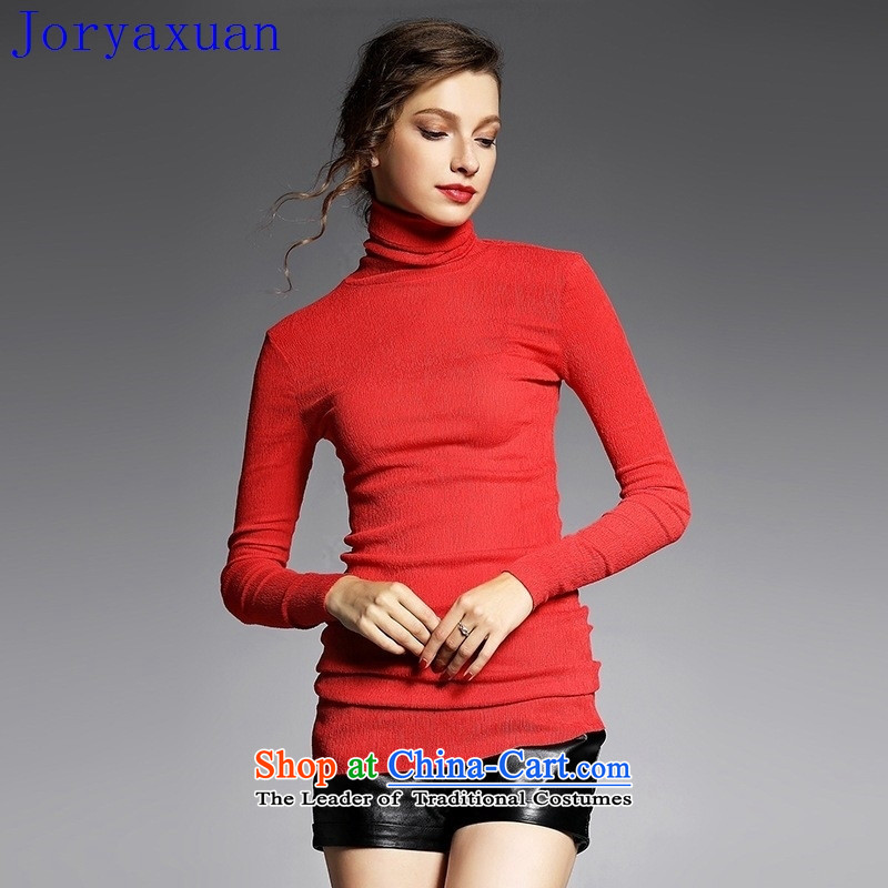Deloitte Touche Tohmatsu sunny autumn 2015 at the shop with new forming the women's long-sleeved shirt high collar folds shirt YN11031 Sau San pressure red , L, Zhou Xuan Ya (joryaxuan) , , , shopping on the Internet