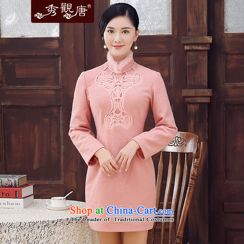 -Sau Kwun Tong Leung Ying- 2015 Fall_Winter Collections new rabbit hair for retro improved long-sleeved qipao wool?   skirt pink燤