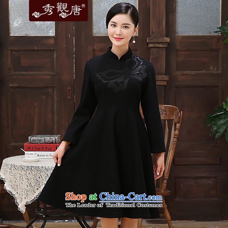 -Sau Kwun Tong- 2015 autumn and winter garden overlooking the long-sleeved qipao retro style chinese red wool Sau San? dresses black?XXL