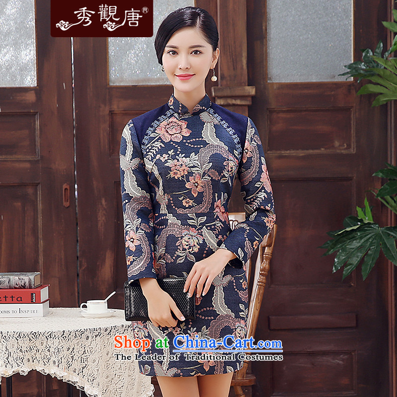-Sau Kwun Tong- Golden Blue 2015 new cotton wool is winter folder embroidered retro long-sleeved cheongsam dress suits Sau San聽3XL