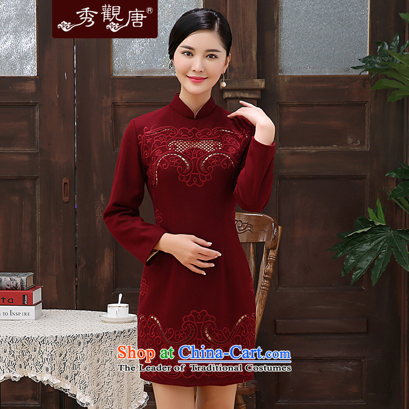 -Sau Kwun Tong- incense land 2015 winter new engraving carved retro improved long-sleeved wool stylish cheongsam dress? wine red XL