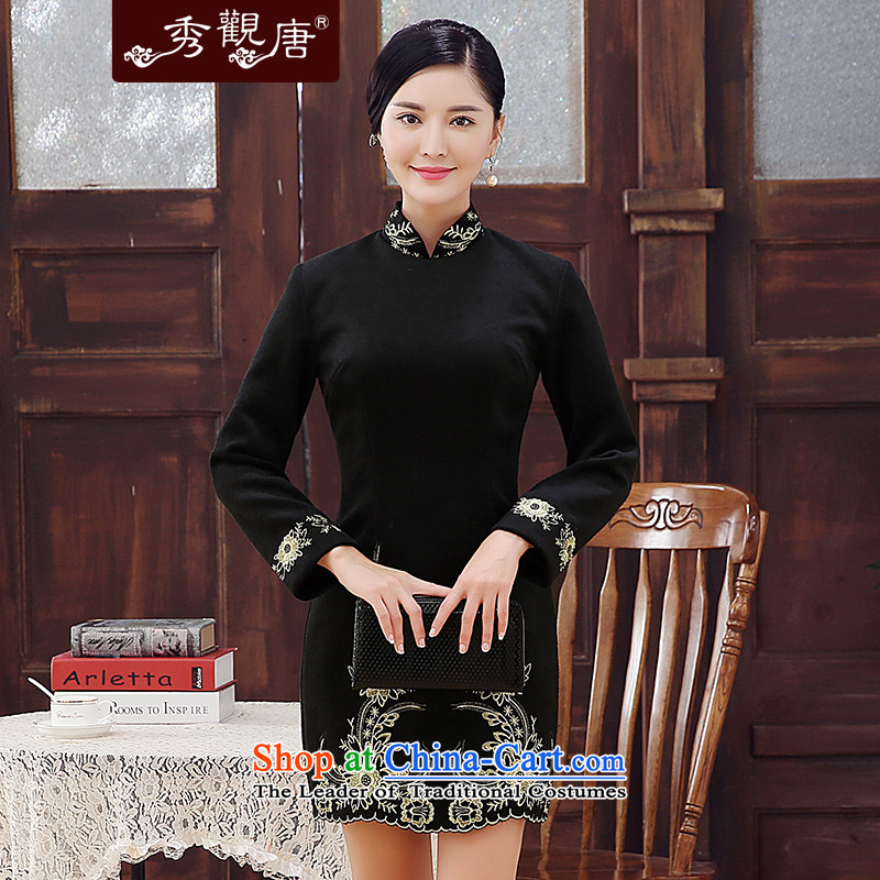 -Sau Kwun Tong- Kim sexy women 2015 winter new wool embroidery improved fashion? long-sleeved black skirt qipao Sau San聽XXL