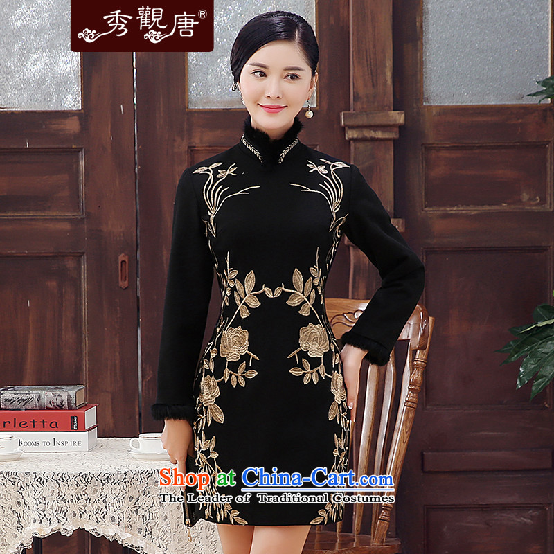 -Sau Kwun Tong- Kim Sang-chan 2015 winter clothing new embroidery wool rabbit hair? for improved long-sleeved qipao warm skirt Black燲L