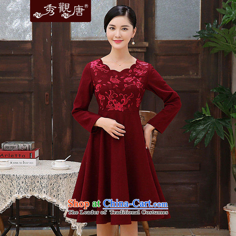 [Sau Kwun Tong] Che Cayman 2015 Fall/Winter Collections New elegant embroidery? improved long-sleeved stylish gross cheongsam dress wine red?S