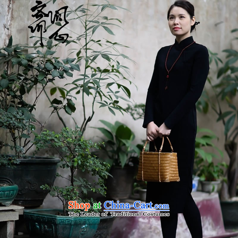 Q Shinsaibashi represented as soon as possible what electoral female winter of Chinese New improved wind silk side of the retro gentle cheongsam dress 2,679 Black S 7 day shipping