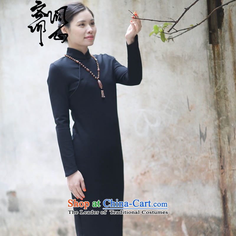 Q Shinsaibashi represented as soon as possible what electoral female winter of Chinese New improved wind silk side of the retro gentle cheongsam dress 2,679 Black S 7 Day Shipping, ask the heart of Ramadan , , , shopping on the Internet