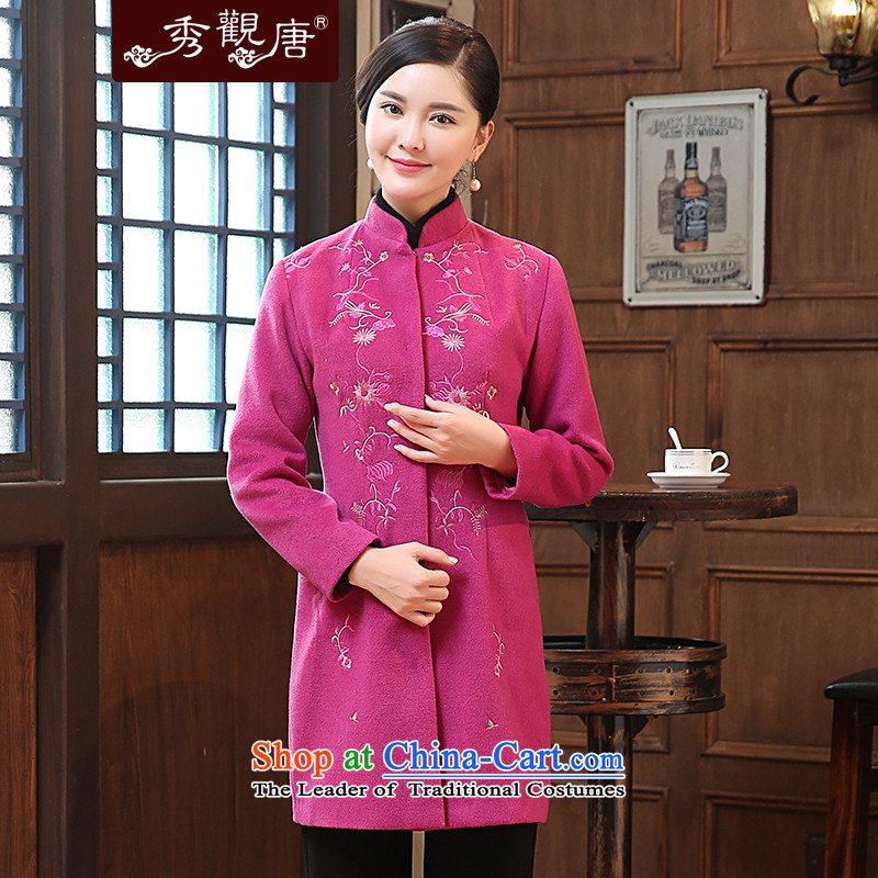 -Sau Kwun Tong- Fenghsiang 2015 winter clothing new embroidery Ms. Tang Dynasty Chinese Mock-Neck Shirt long-sleeve sweater gross? The Red燤