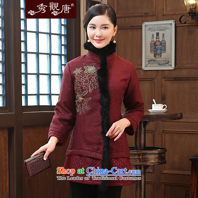 -Sau Kwun Tong Yat Fu- 2015 winter clothing new embroidery wool stitching. Ms. older Tang Jacket coat wine red燲XL