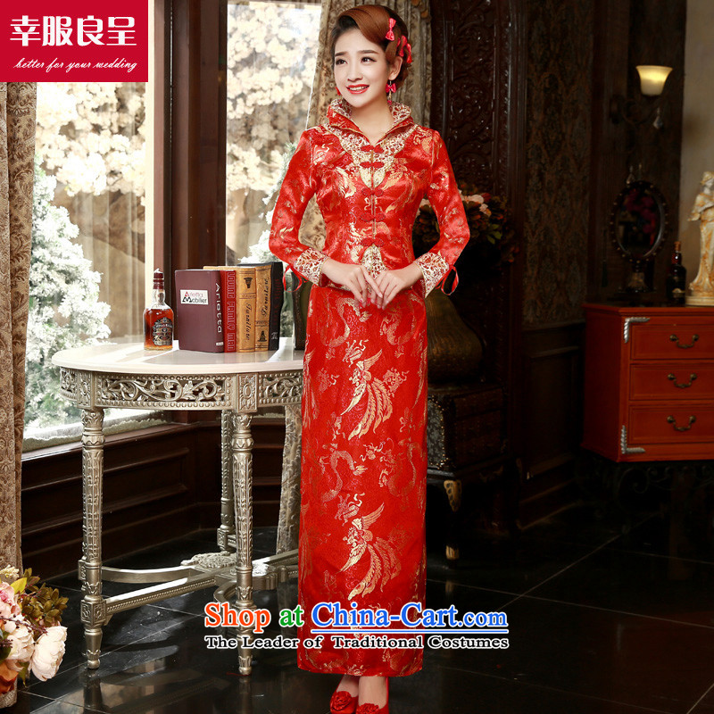 The privilege of serving-leung 2015 Fall_Winter Collections new bride Chinese wedding dress wedding dress bows service long-sleeved cheongsam dress winter_ long skirt燬
