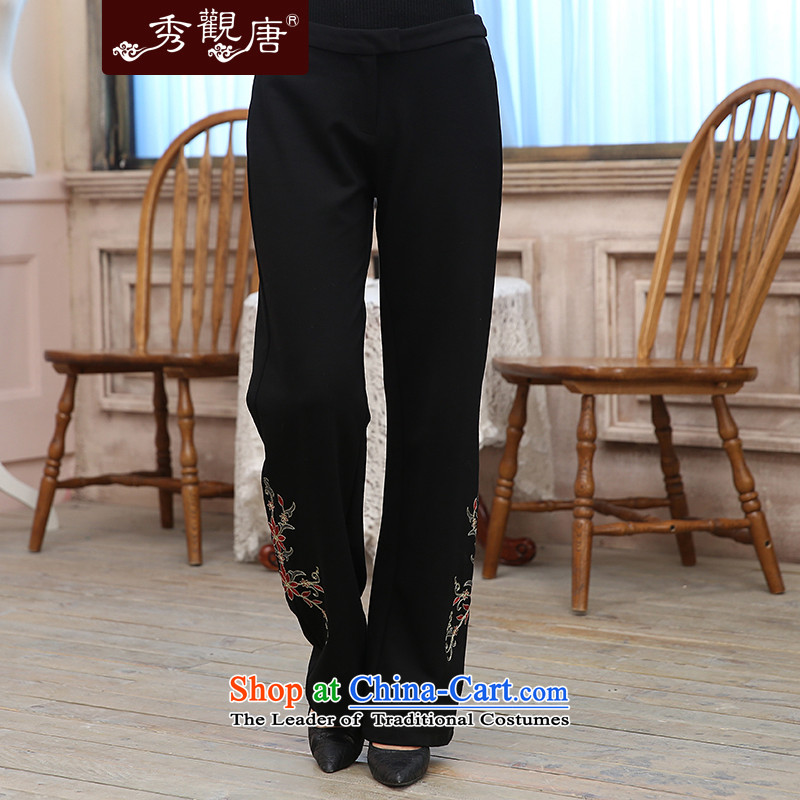 -Sau Kwun Tong- spend Yue Ngan 2015 Fall_Winter Collections New President Tang pants Chinese female embroidered pants black燲XL